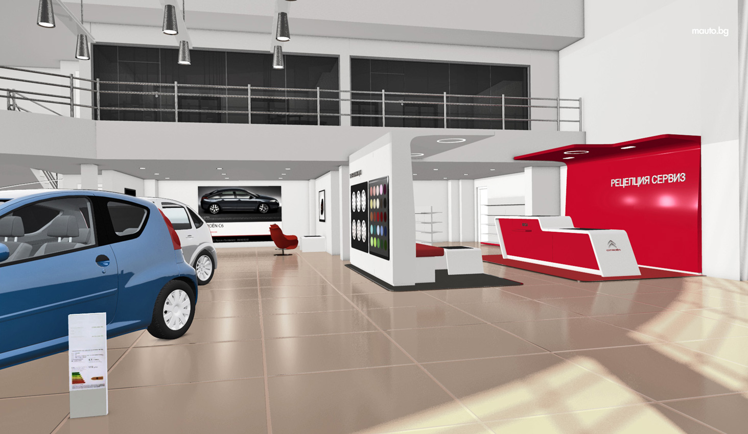3d visualisations of the new citro n showroom in ruse for minchev auto stylish web graphic. Black Bedroom Furniture Sets. Home Design Ideas